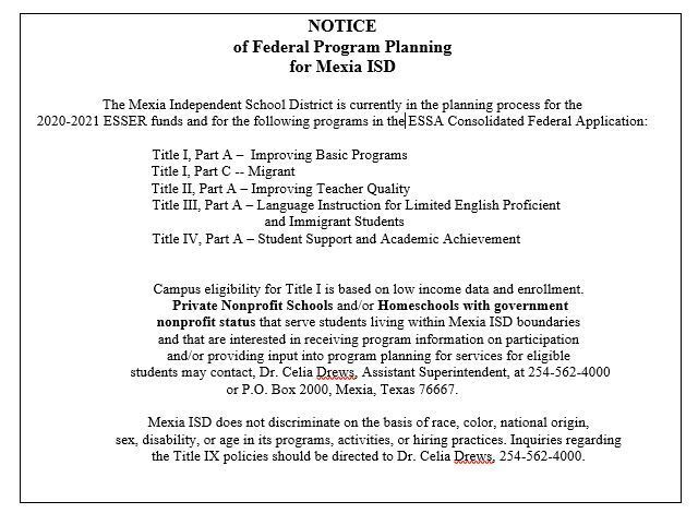 Mexia ISD Federal Program Planning for 20-21