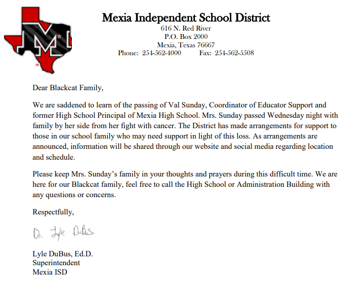MEXIA ISD Message