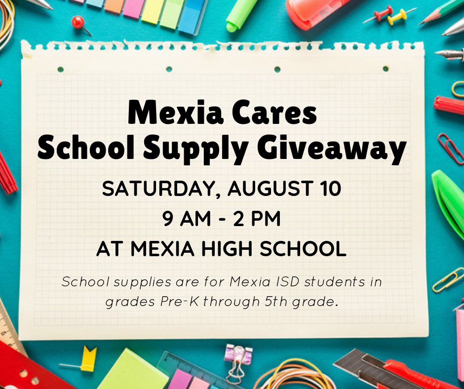 Mexia Cares School Supply Giveaway
